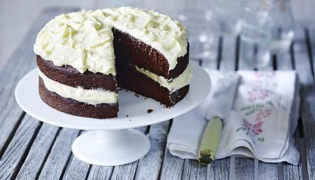 Mary Berry's Celebration chocolate cake with white choc & cream cheese frosting....