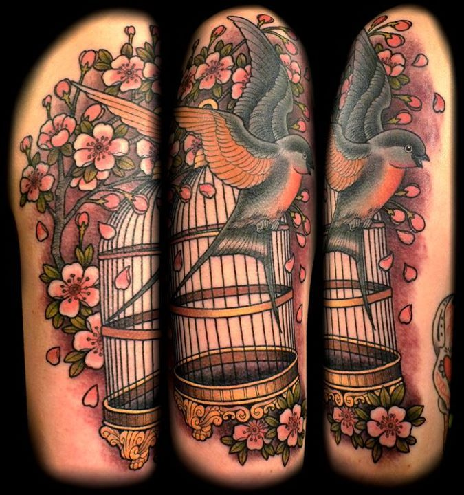 Japanese Cherry Blossom and Bird tattoo