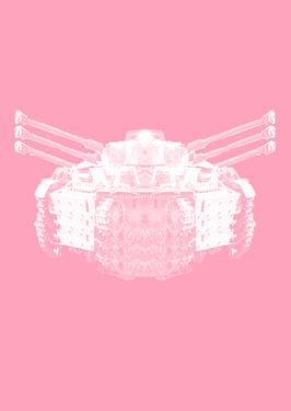 """Saatchi Art Artist Veronica Formos; Printmaking, """"The transformation of tank into an insect  (LIMITED edition- 5 pieces)""""  #art #newmedia #print #printmaking #tank #pink #contemporaryart #digital #photoshop"""