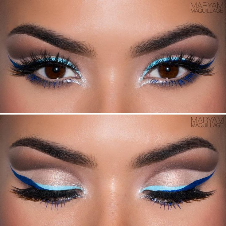 """""""Holiday Party"""" Makeup Look: Sharp, duo-tone blue liner and exaggerated wing contrasting against a dramatic cut-crease which separates the space between the lash line and the brow. The cut-crease technique is great for achieving a larger lid space and is especially flattering on smaller eyes, monolids or hooded eyes."""