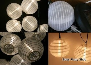 25 White Solar Lanterns with Warm White LED Fairy Lights from the Solar Party Shop