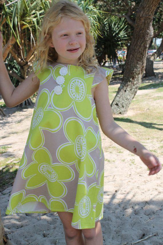 Lime Daisy Print Shift Dress by HullabalooKids on Etsy, $35.00