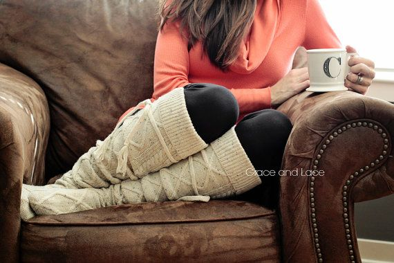 Alpine Thigh High Slouch Sock - Tweed thick cable knit socks w/ fold over cuff and tassel tie - boot sock leg warmer (item no. 6-27) on Etsy, $39.00