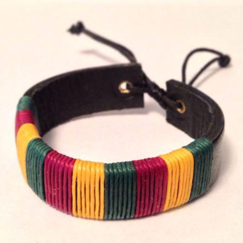 Rasta Bracelet Leather Jamaican Rastafarian Hippie Peace Swag Men Womens Jewelry $5.62
