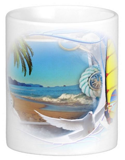 A composite capture of a windsdurfer and the sea. An idyllic setting for spending some time immersed in nature. The sea, the wind, the birds, the clear blue sky. If you're an active person you can use this mug to remind you to live a balanced life!