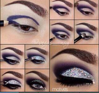 Rhinestone silver eye makeup tutorial