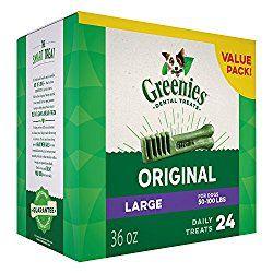 Greenies Dental Dog Treats, Large, Original Flavor (24 Treats, 36 Ounces).  Greenies Dog Dental Chews: For Clean Teeth and Healthy Gums