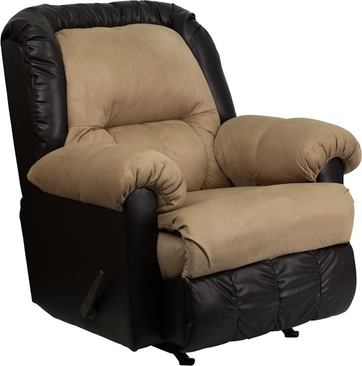Contemporary styling rocker recliner tan colored microfiber and dark brown vinyl upholstery air - Fashionable recliners ...