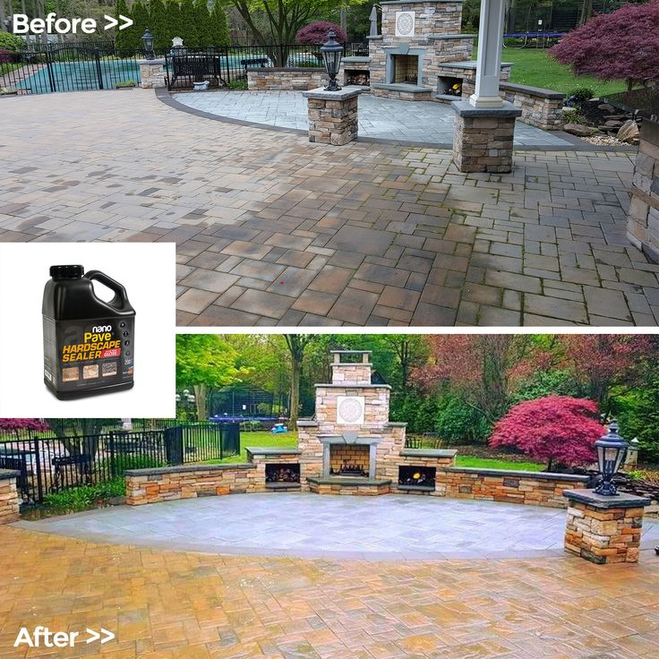 Before U0026 After Shots Of A Cambridge Paver Fireplace And Patio Area  Restoration In New York