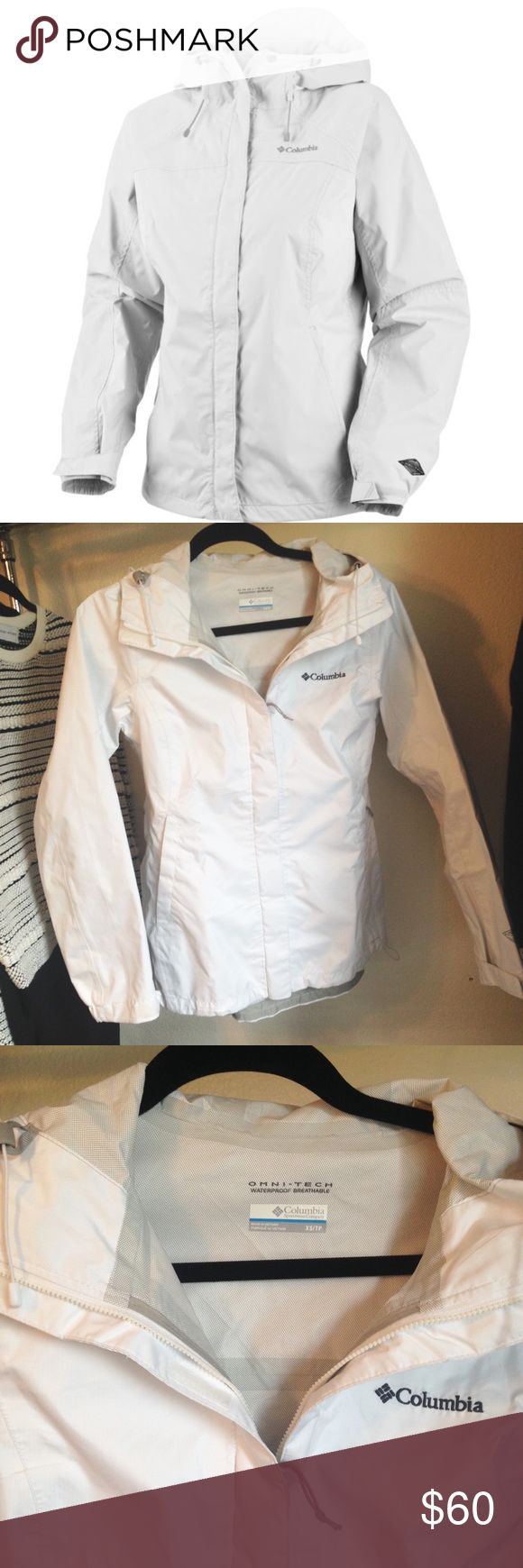 White Columbia Rain Jacket In size XS this lovely rain jacket has been worn once maybe twice? In EUC ♡ Columbia Jackets & Coats