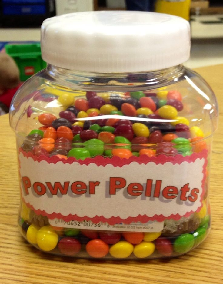 "Fill the jar with skittles or m&m's and give them to the students when they need a ""power"" booster."