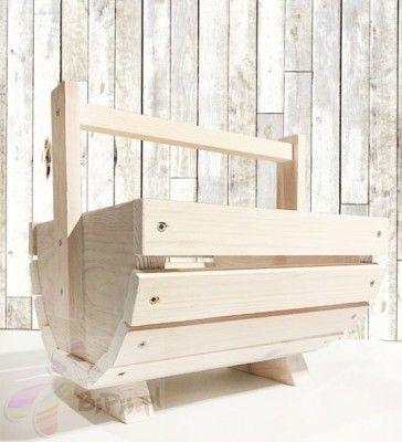 Kosz dekoracyjny półokrągły drewniany 22,5x23x25 cm