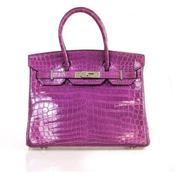 Pre-Owned Hermes Birkin 30 Cm Purple Crocodile Porosus Tote Bag (157,550 ILS) ❤ liked on Polyvore featuring bags, handbags, tote bags, purple, tote purses, evening handbags, hermes purse, purple tote and evening purses