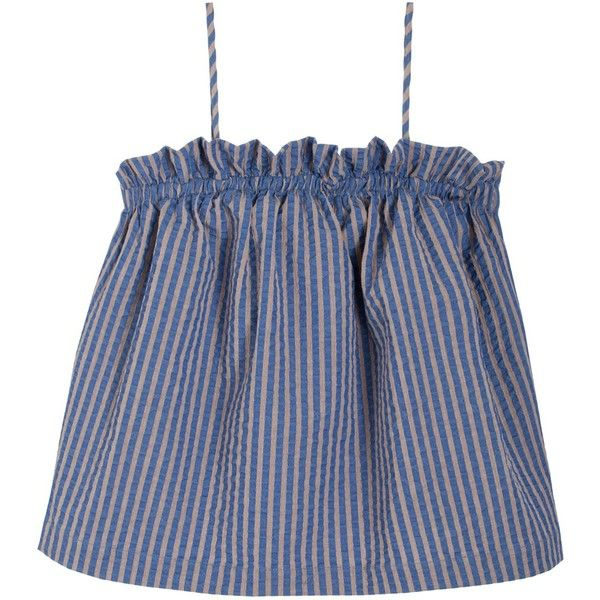Luisa Et La Luna Striped Laia Top found on Polyvore featuring tops, blue camisole, cami tops, striped top, cotton camisole and camisole tops