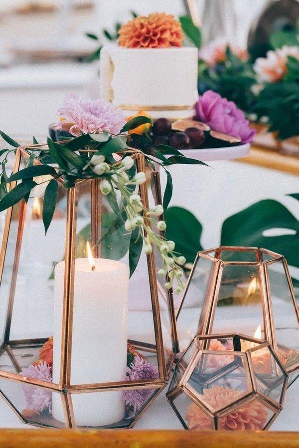 Copper terrarium wedding centerpiece - Deer Pearl Flowers