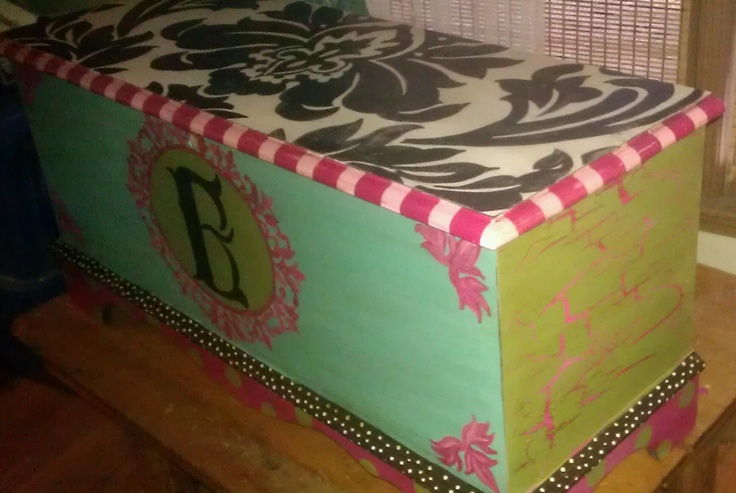 Hand Painted Cedar chest, to be used for a toy chest