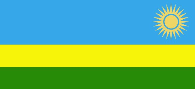 The new Rwanda flag was officially adopted on October 25, 2001. It was designed by a local artist.           The green is symbolic of the country's prosperity, the yellow is symbolic of potential and real economic development, and the blue is symbolic of happiness and peace. The sun and its rays are said to represent enlightenment.