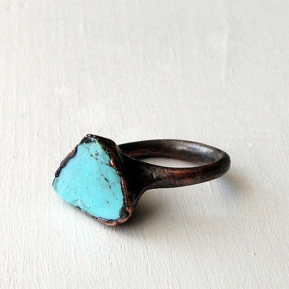 Copper Ring Turquoise December Birthstone Handmade Ring Simple Raw Modern Organic Robins Egg Blue    $65.50