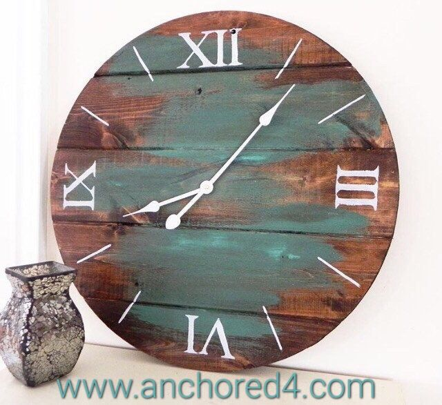 """Peekaboo Teal"" is one of the many beautiful rustic clocks we offer at our online boutique.  www.anchored4.com We ship world wide!!!  Sign up for our free Anchor Rewards Program to earn anchor points to get money off purchases or cash in anchor points to get items in our store FREE!!!"