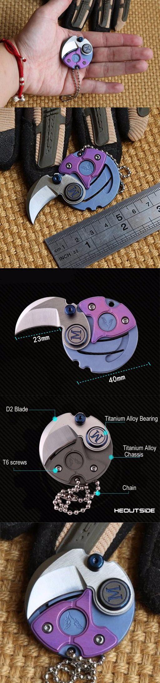Heoutside Coin Folding Knife Titanium Alloy Luxury Creative COINS Mini Self-Defense Circular Pocket Knife Key Pendant of Every Day Carry (EDC) Specialty Defense Knives KEY