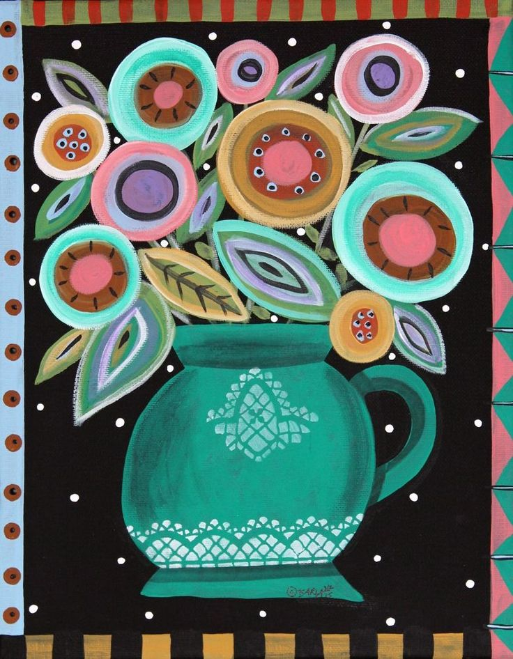 Teal Pot 11x14 inch ORIGINAL CANVAS PAINTING Folk Art FLOWERS Karla Gerard ..new painting, just finished and now for sale.... #FolkArtAbstractPrimitive