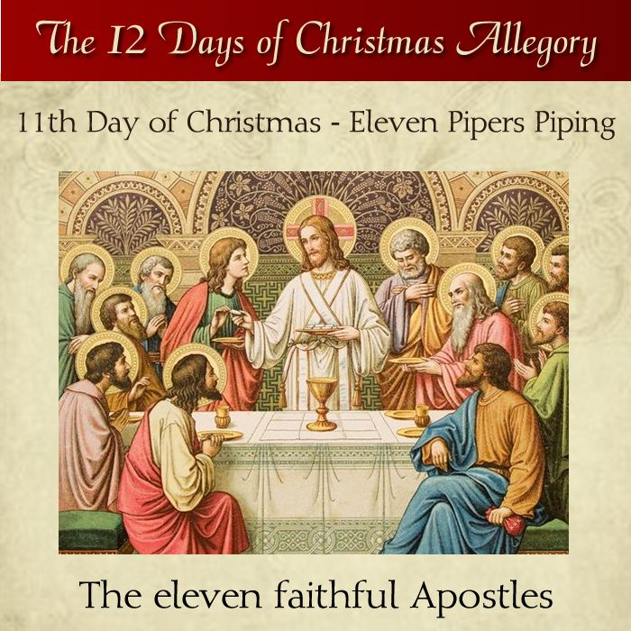 11th Day of Christmas – Eleven Pipers Piping – The eleven faithful Apostles  #DaughtersofMaryPress #DaughtersofMar