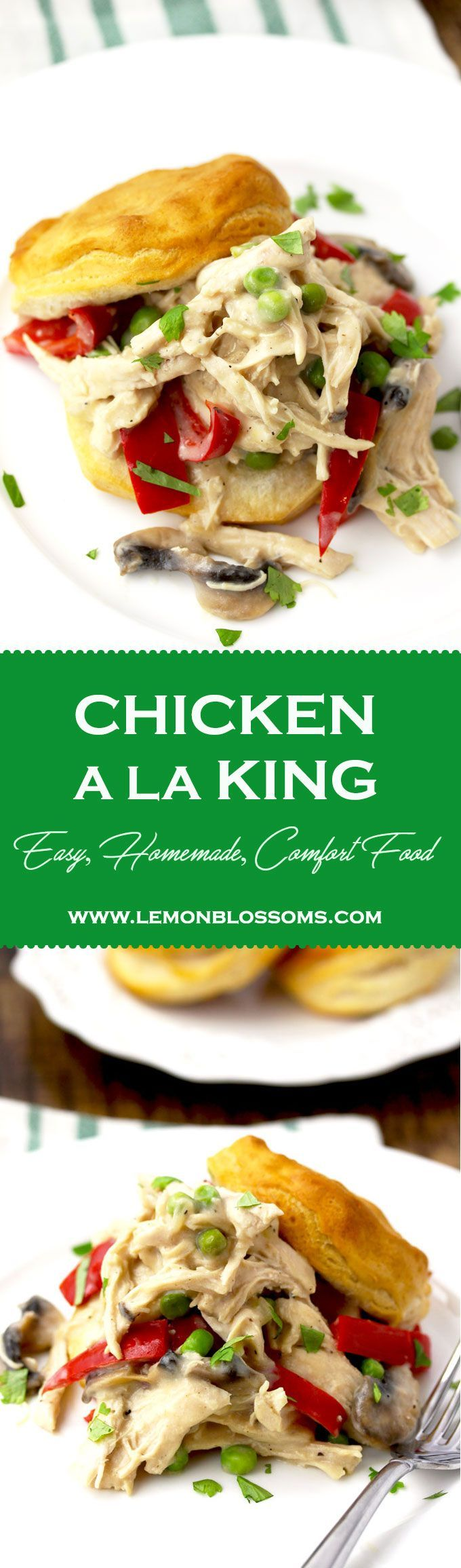 This easy Chicken A La King recipe is comfort food to the max. Made from scratch with tender chicken, mushrooms, red bell peppers and peas in a super creamy white sauce. Serve it over biscuits, toast, rice or in a pastry shell for a fancier presentation! #chicken #recipe #comfortfood #chickenalaking via @lmnblossoms