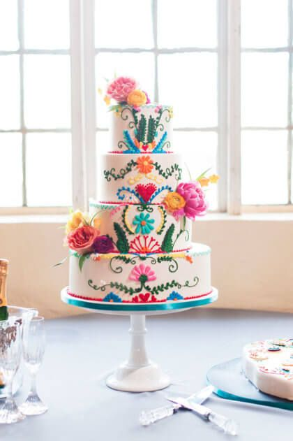 We can't take our eyes off of this beautifully crafted cake from Amy Cakes! | Fiesta Themed Oklahoma Wedding Captured by  Ely Fair Photography | Kelsey + Kyle #bridesofok #oklahomabride #cake