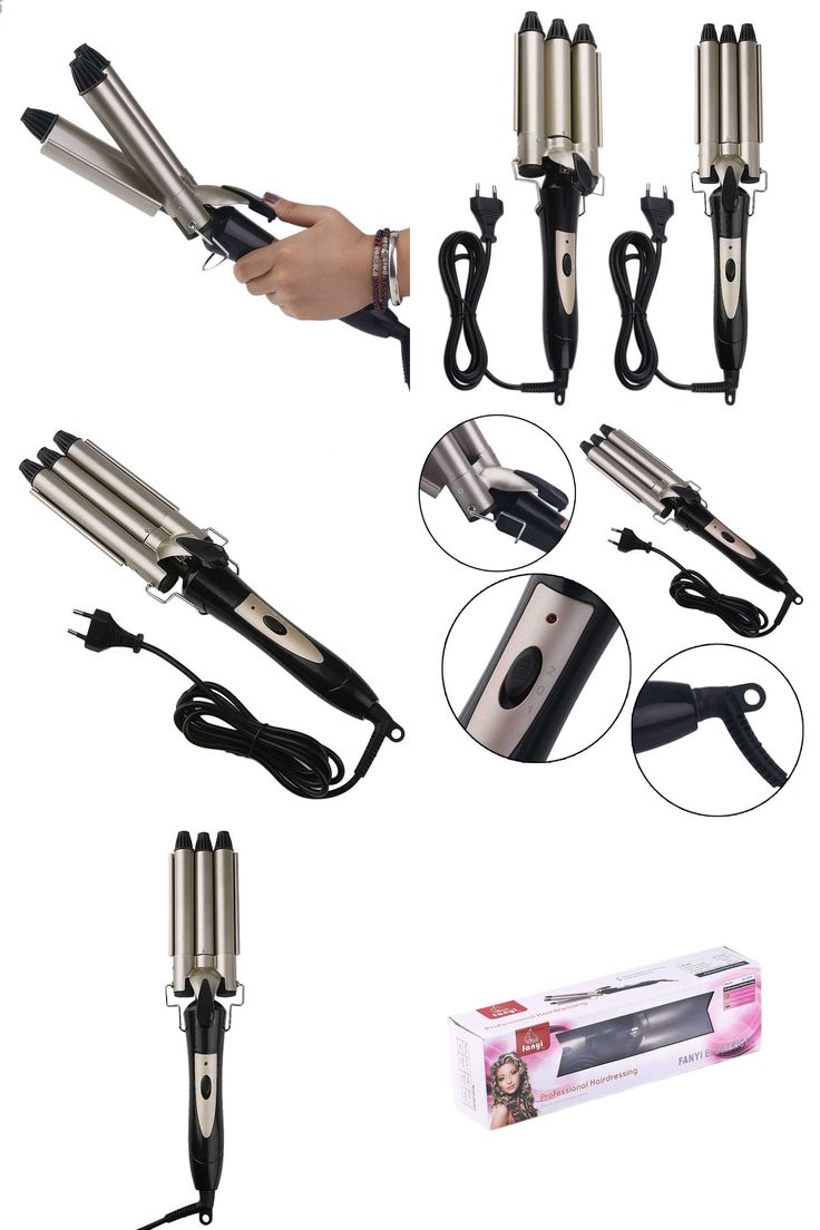 [Visit to Buy] 20mm/25mm Hair Curling Iron Ceramic Triple Barrel Hair Waver JD-2025A Professional Hairstyle Tools EU Plug top quality #Advertisement