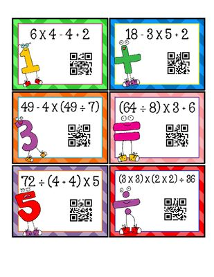 FREEBIE Order of Operations Task Cards with QR Codes COMMON CORE ALIGNED 5.OA.1