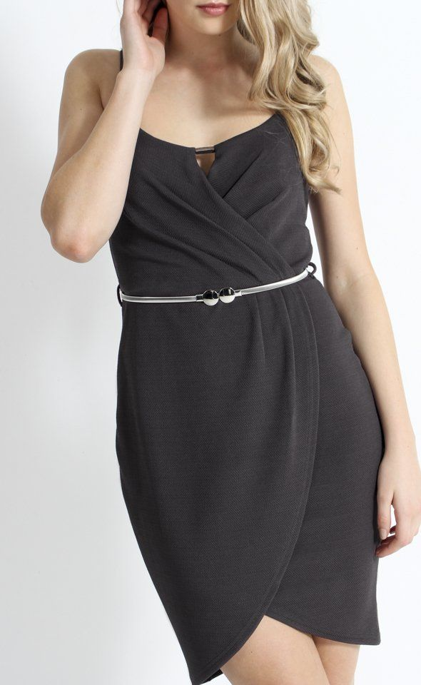Crossover Textured Knit Dress | This party ready piece features a feminine tulip hem, crossover V neck bust and delicate silver details. Fully lined for a flawless silhouette, this piece pairs well with metallic heels and silver jewellery for an elegant finish.