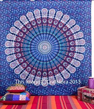 Larghe Indian Mandala Wandbehang Gobelin, Hippie-Stil Psychedelic Mandala, Tapisserien Strandlaken/New Age-Wohnheim Bettwäsche, Bohemian-Motiv, zum Aufhängen, Dekoration Midnight Blue Turquoise