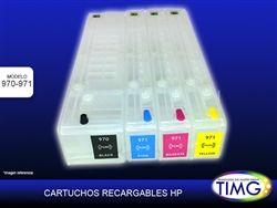 Set de cartuchos recargables para Hp 971 - Con chip que muestra nivel de tinta y reseteable - http://www.suministro.cl/product_p/5503020019.htm