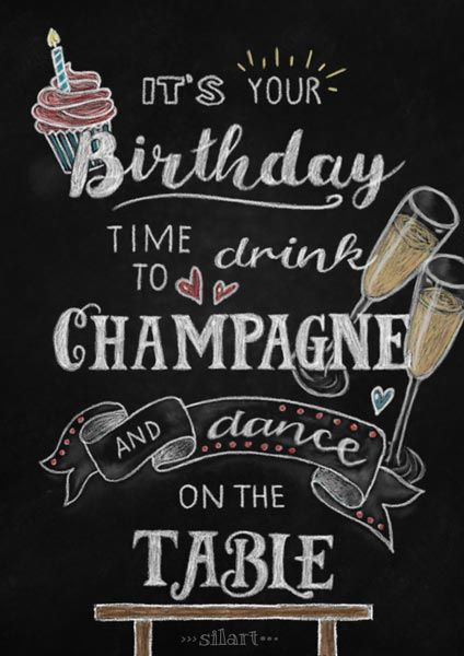 Birthday Chalkboard, Lettering Card, Quote Art, Word Art, Statements, Zitate, Sprüche, Karten