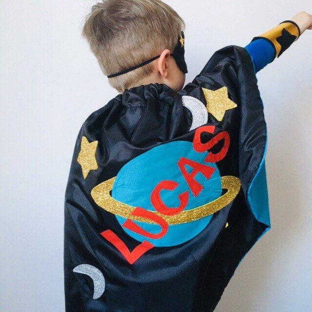 Custom Space Cape, Kids Spaceman Costume, Personalised Space
