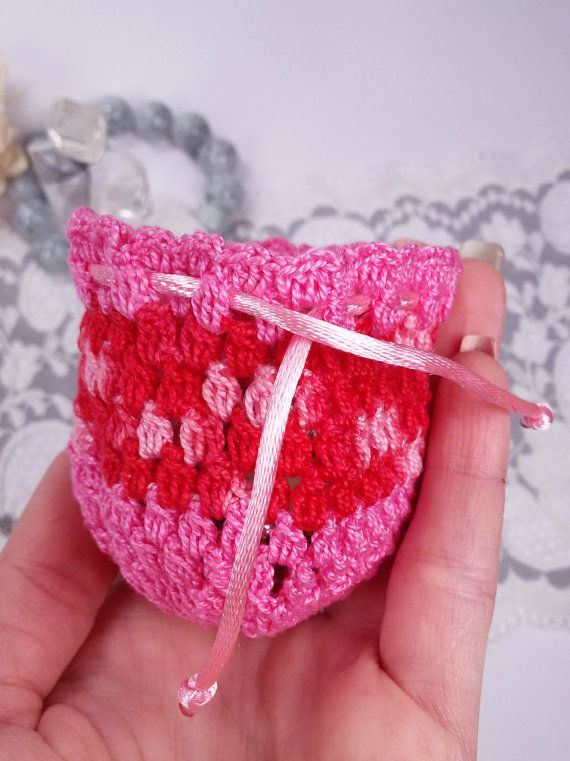 Pink handmade jewelry pouch crochet gift bag pink by Rocreanique on Etsy
