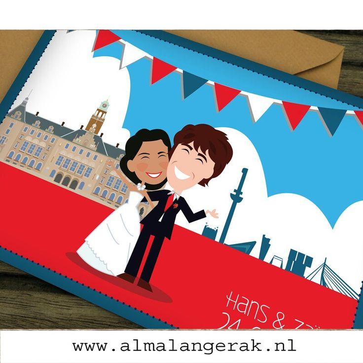#trouwkaarten #rotterdam #skyline #stadhuis #euromast #maatwerk #cartoon #nagetekend #erasmusbrug #portret