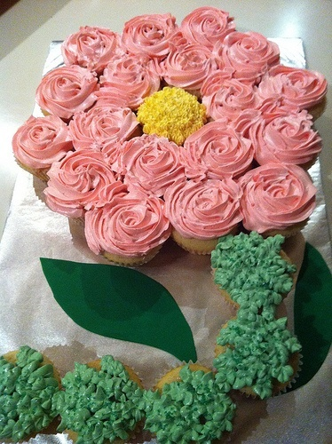 Flower Cupcake Cake----great for a bridal or girl baby shower!