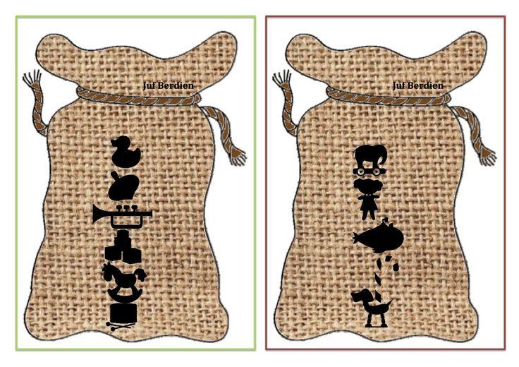 Juf Berdien zelfgemaakt stapel spel 5 speelgoed sinterklaas zak zwarte piet thema kleuters