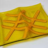 https://www.facebook.com/vitreamx Plato de vidrio amarillo