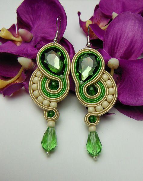 Lime green oriental long earrings soutache from Soutacheria by DaWanda.com