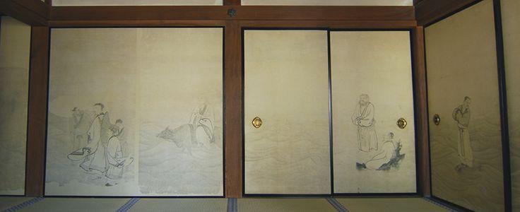 円山応挙筆:紙本墨画「波上群仙図」。左から孔子、子路、冉求、老子、荘子、孟子、琴高仙人(童子を除く)。