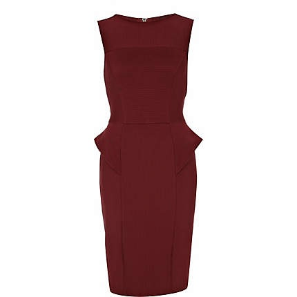 We LOVE this burgundy peplum dress. Do you? If this is your favourite item on this board, repin it and you could win it! #riverisland #pinittowinit