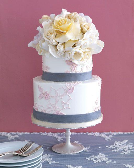 Gorgeous wedding cake with sugar flowers | Antonis Achilleos |  Sylvia Weinstock Cakes | Theknot.com