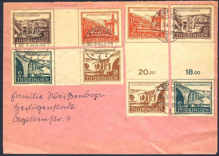 """German Russian Occupation, SBZ 1946, Thüringen, Brückenbau-Zwischenstegpaare, die komplette Serie (4 Z.-Paare/auf Sammler-ERSTTAGSBRIEF, mit Stempel """"ERFURT 30.3.46"""", gepr. Schulz BPP (FDC, Mi.-Nr.WZd 1/2, SZd 1/2). Price Estimate (8/2016): 200 EUR."""