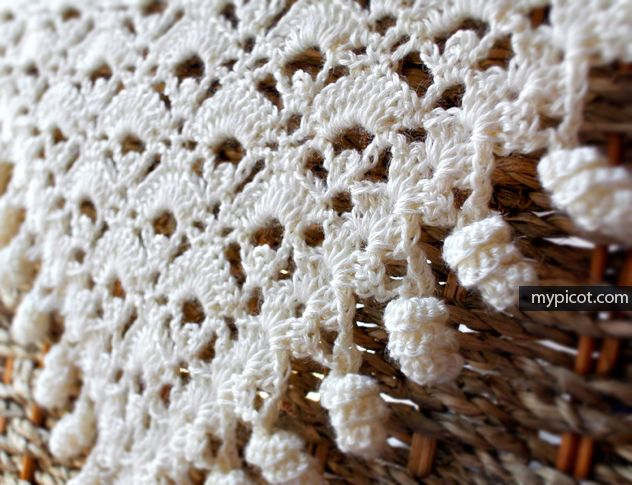 MyPicot | Free crochet patterns...Triangular shawl with curly fringe...Great step-by -step pattern instructions!! Good pattern for making lots of things!!