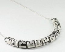 Paper Bead Jewelry- Vintage Sheet Music Upcycled Paper Bead Necklace, Music Jewelry, Music Gift, Paper Jewelry, Music Necklace