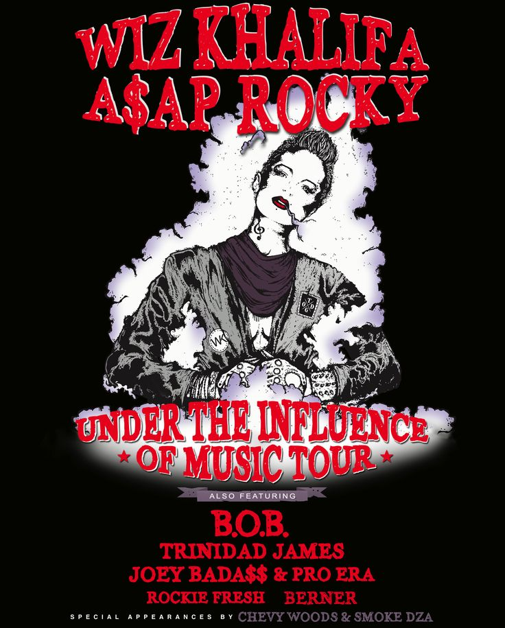 Win Tickets To See ASAP Rocky And WizKhalifa - News.  To win, tweet at us with what you would name an A$AP Rocky x Wiz Khalifa x Trinidad Jame$ x Joey Bada$$ supergroup, letting us know what concert you'd like to go to (peep the dates below) as well. Use the hashtag #TheInfluenceTour too so we can find you.  Winners will be announced just after 5 PM EST next Wednesday, June 26.  More info at www.FRANK151.com #frank151 #asaprocky #wizkhalifa #proera #joeybadass #trinidadjames