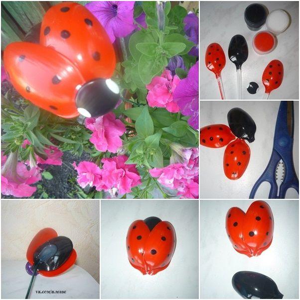 How to DIY Plastic Spoon Ladybug for Your Garden | www.FabArtDIY.com LIKE Us on Facebook ==> https://www.facebook.com/FabArtDIY