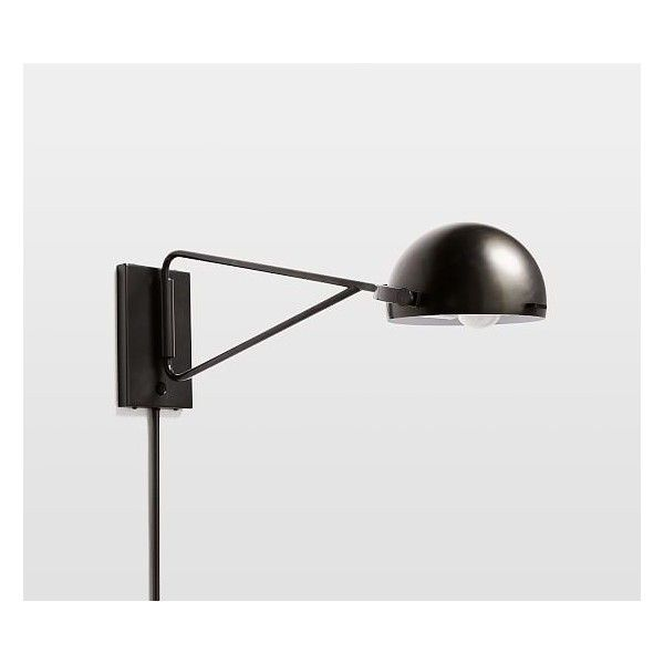 West Elm Clint Sconce ($60) ❤ liked on Polyvore featuring home, lighting, wall lights, plug in wall lights, wall reading lamp, wall reading lights, reading lights and west elm lighting